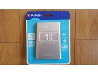 Brand New Sealed Verbatim Store n Go 1TB Portable Hard Drive USB 3.0 (Silver)