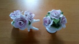 2 Aristocrat hand made bone china flower ornaments