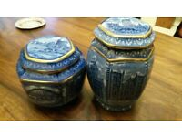 Small And Large Tea Caddy Blue & White Ringtons