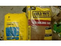 20kg Cement & 2 large pack red building sand