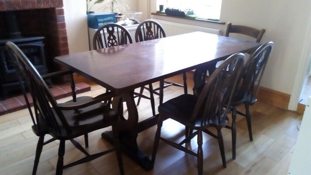 Fine Solid Dark Wood Dining Table And 6 Chairs In Chesterfield Derbyshire Gumtree Onthecornerstone Fun Painted Chair Ideas Images Onthecornerstoneorg