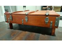 Rustic Pine Wood Storage Chest Coffee Table Trunk Antique Look