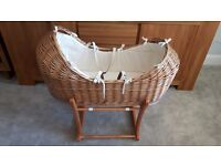 Mothercare The Snug Moses Basket and wooden rocking stand