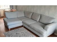 Sky Blue DFS Right hand small corner sofa and matching chair set £350 o.n.o