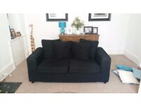 2 and 3 seater black sofa for sale
