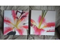 2x canvas pictures of lillies