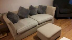 Free - Large beige sofa with footstool & cushions