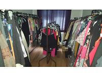 Massive job lot clothing (750+items)+ mannequin, rails, hangers, wedding dress etc