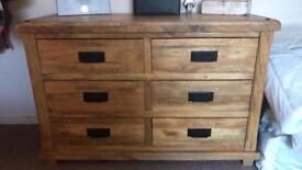 Solid mango oak furniture land chest of drawes
