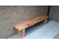 Double oak railway sleeper bench garden furniture set summer furniture sets Loughview JoineryLTD
