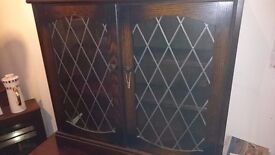 Small Oak Display/Bookshelf With Leaded Doors