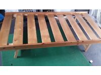 Solid Single Wooden Bed Frame (Legs fold away for storage if required) £20