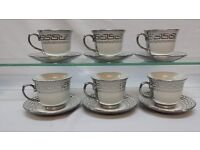 NEW 12PC CHINA SILVER DESIGNER DESIGN CUPS AND SAUCERS