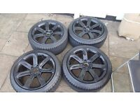 AUDI 18 INCH ALLOY WHEELS IN BLACK WITH TYRES