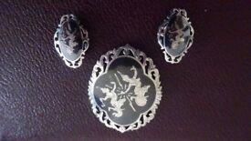 Mid Century Siam Silver Goddess Brooch plus Clip-on Earrings