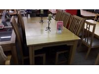 Large Light Wood Table + 6 Chairs