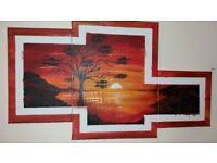 Hand painted 3 panel sunset painting on canvas