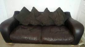 Real leather and suade 3 seater sofa and chair