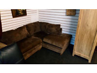 REDUCED...BEAUTIFUL NEXT BROWN CORNER SOFA LOVELY MATERIAL ULTIMATE COMFORT TO COZY UP ON