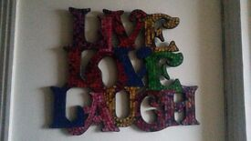 'Live Love Laugh' mosaic style wall hanging