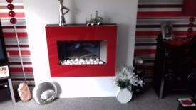 Stunning red flame-effect electric fire - excellent condition