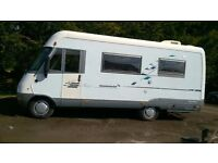 Hymer 4 Berth E610 A Class RHD motorhome on a Fiat base with 2.5 Diesel engine. 48,000 miles