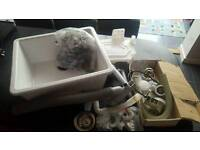 Ikea Porcelain kitchen sink with fixtures and fittings