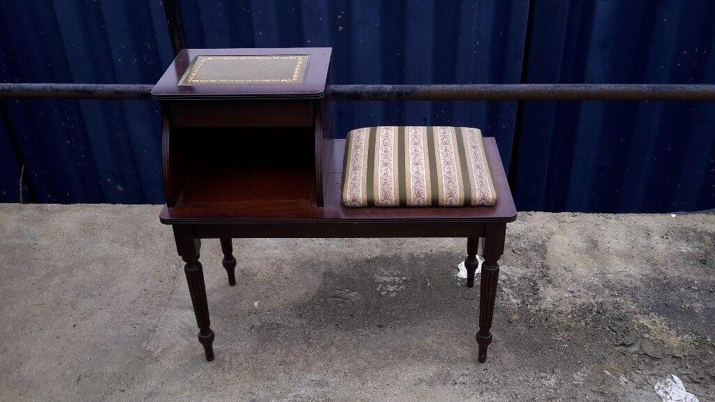 Gorgeous vintage mahogany antique telephone table seat chair - can deliver - Gorgeous Vintage Mahogany Antique Telephone Table Seat Chair - Can