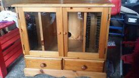 solid pine wood tv unit