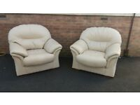Pair of Cream Leather Armchairs In Excellent Condition