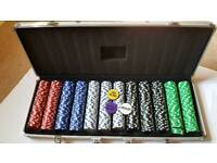 Poker chips in aluminium case