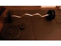 70kg weights plus heavy curl bar