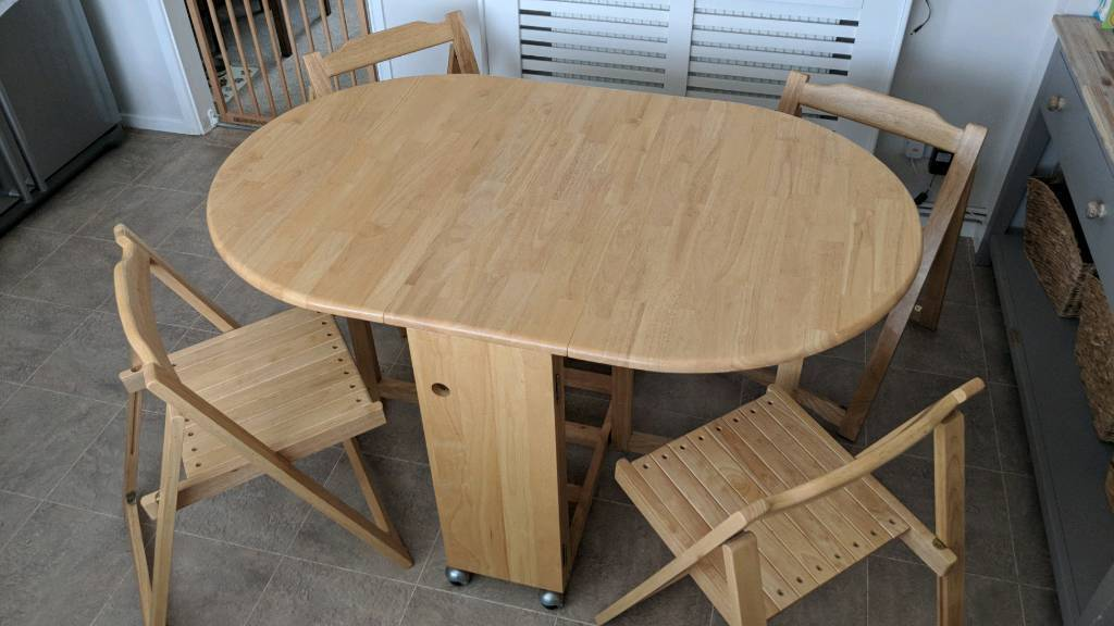 554c866c22eb6 John Lewis Butterfly Drop Leaf Dining Table   4 Folding Chairs