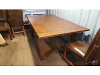 Solid Wood Dinning Room Table & 6 Leather Chairs