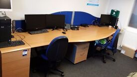 Office Desks x 4 Pod / Bank / 4 Draws + 2 Draw Ends + 4 Chairs + Partitions