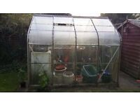 greenhouse 8 x 6 foot with table already dismantled nice shape