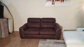 Ex-display Cressida brown saddle fabric 3 seater sofa bed