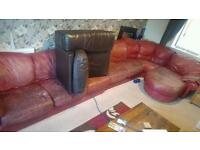 Huge red leather sofa ( ignore the black sofa section!)