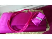 Satin Pink small clutch bag by M&S brand new with cord strap