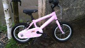 Ridgeback Honey Girls Bike 14inch Wheel, stabilisers included.