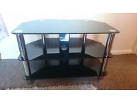 TV stand unit black glass