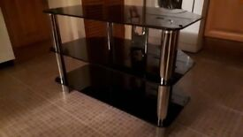 """32"""" black glass and chrome tv stand (excellent condition)"""