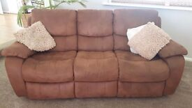 Faux Suede 3 seater sofa. (Recliner)