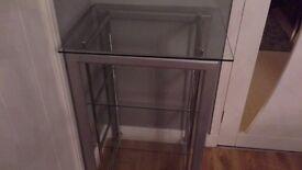 Hi Fi unit , with glass shelves chrome legs