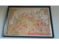 Vintage Thai Temple Rubbing Multicoloured War Scene with Elephants Picture Lovely Christmas Present