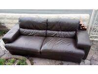 FREE Real leather chocolate brown sofa