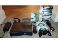 Xbox 360 Slim 250Gb Matt finish IMMACULATE + 19 GREAT GAMES, WHEEL, loads of extras!