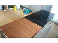 Unusual large black and wooden designer desk
