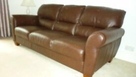 two immaculatr brown leather settees