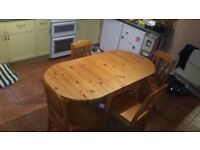 Ikea Solid Pine folding dining table + Chairs